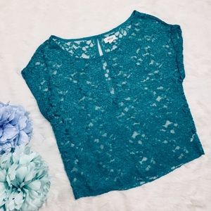 Aerie by American Eagle Lace  Crop Top Jade Green
